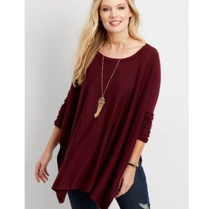 Maurices maroon slit poncho/sweater